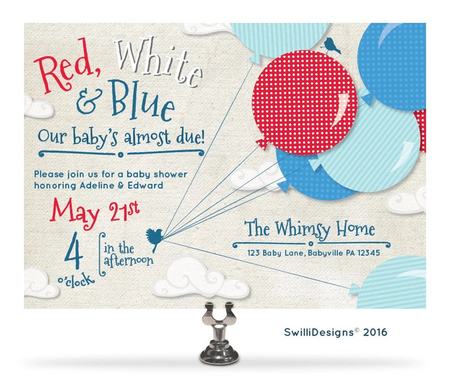 Red And White Baby Shower Invitations