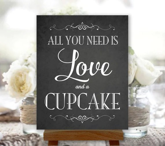 Download All You Need Is Love and a Cupcake Chalkboard Digital