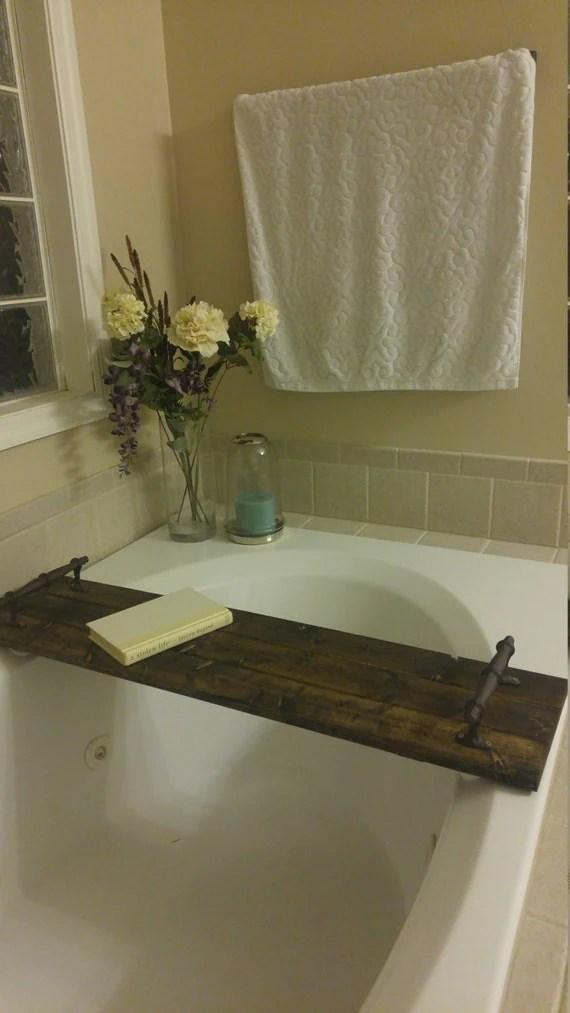 Rustic Wood Bath Tub Caddy Bath Tub Tray By Barnandlace
