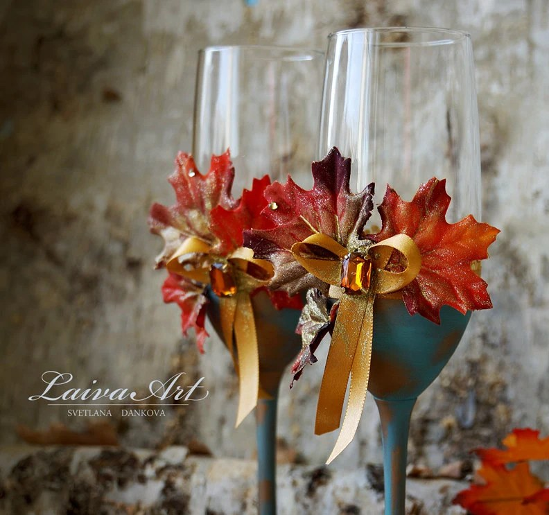 Fall Wedding Champagne Flutes Fall Wedding Toasting Flutes