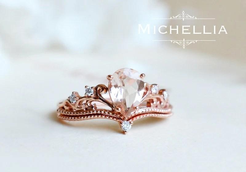 Morganite Pear Engagement Ring Set Vintage Pear Crown Ring In