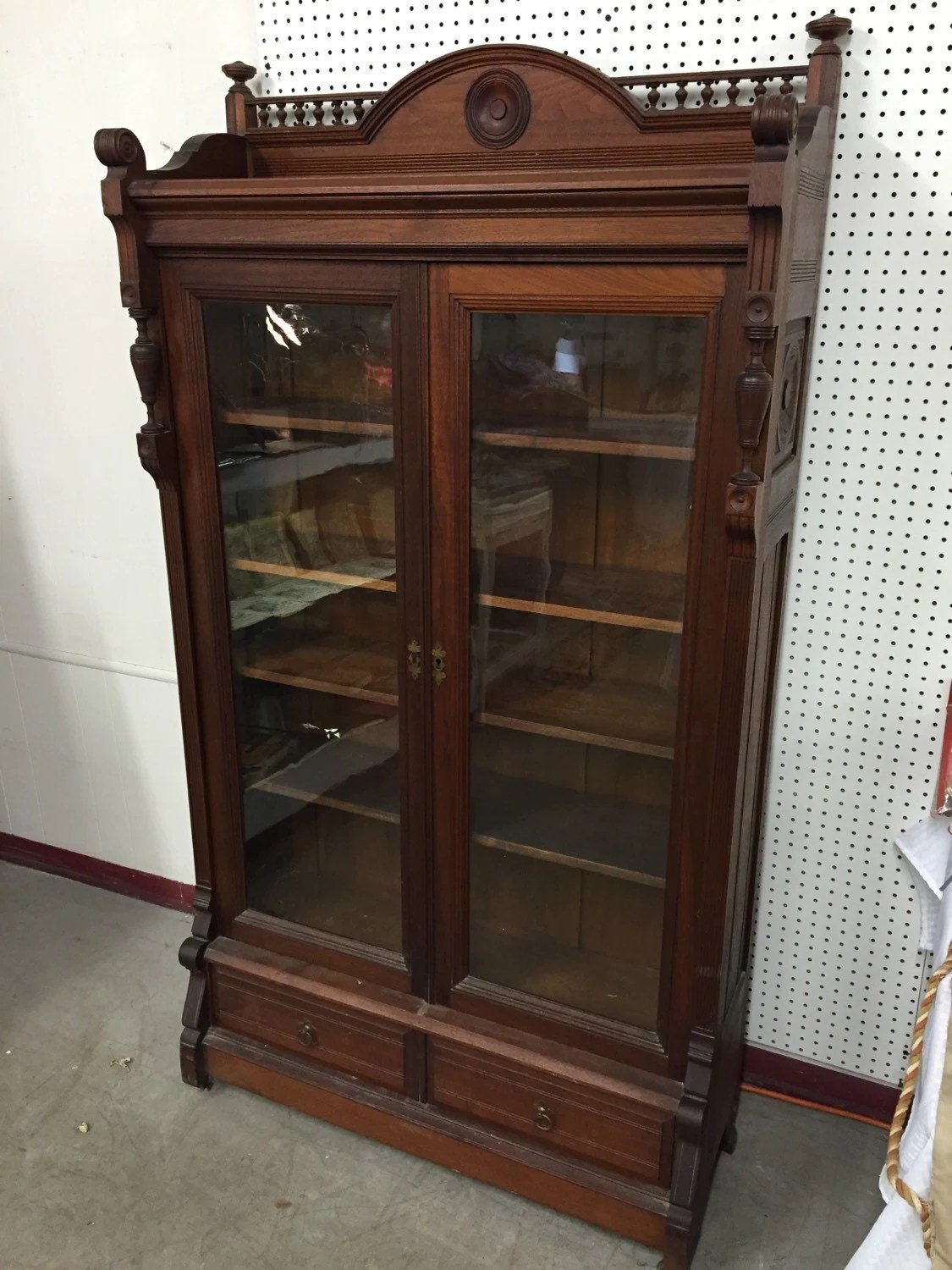 Old Book Display Case ~ Beautiful victorian walnut display cabinet book case