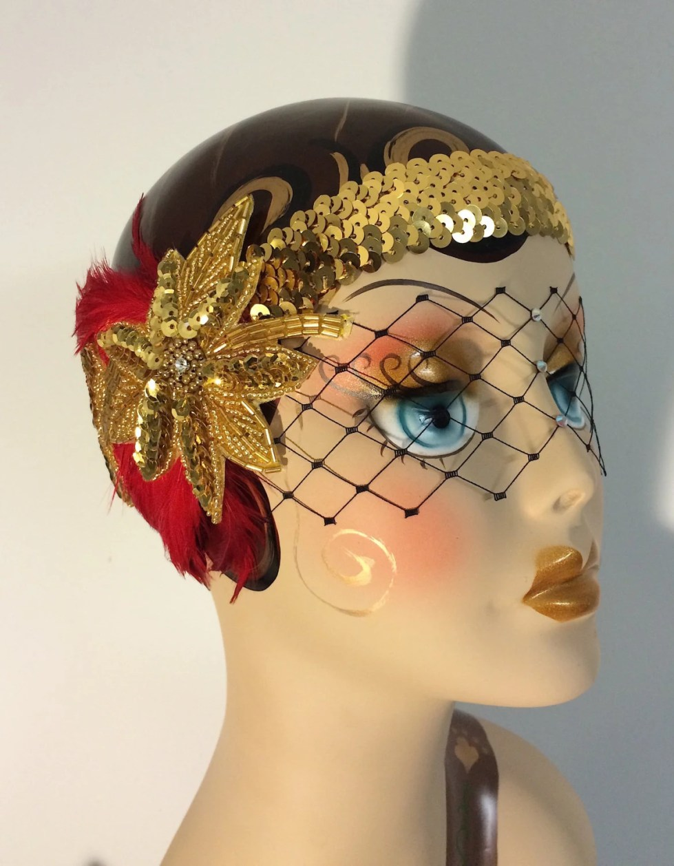Art Deco Flapper Headband, Great Gatsby Headband, Flapper Headband, Headband, 1920s Head Piece, Art Deco Headband, Red and Gold