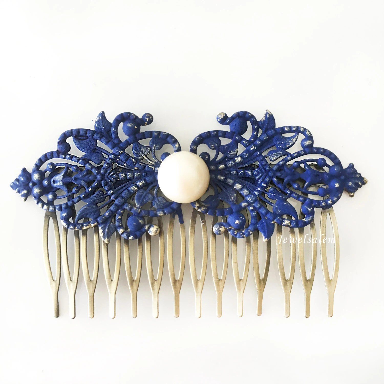 Navy Blue Pearl Hair Comb Dark Blue Wedding Bridal Comb