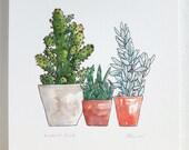 Cactus print. Succulent a...