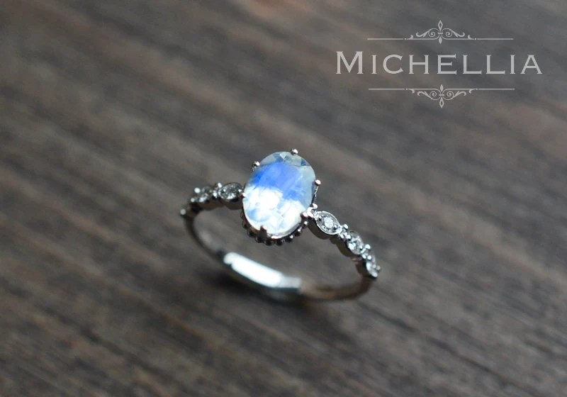 White Gold Moonstone Engagement Ring With Diamond 14K 18K
