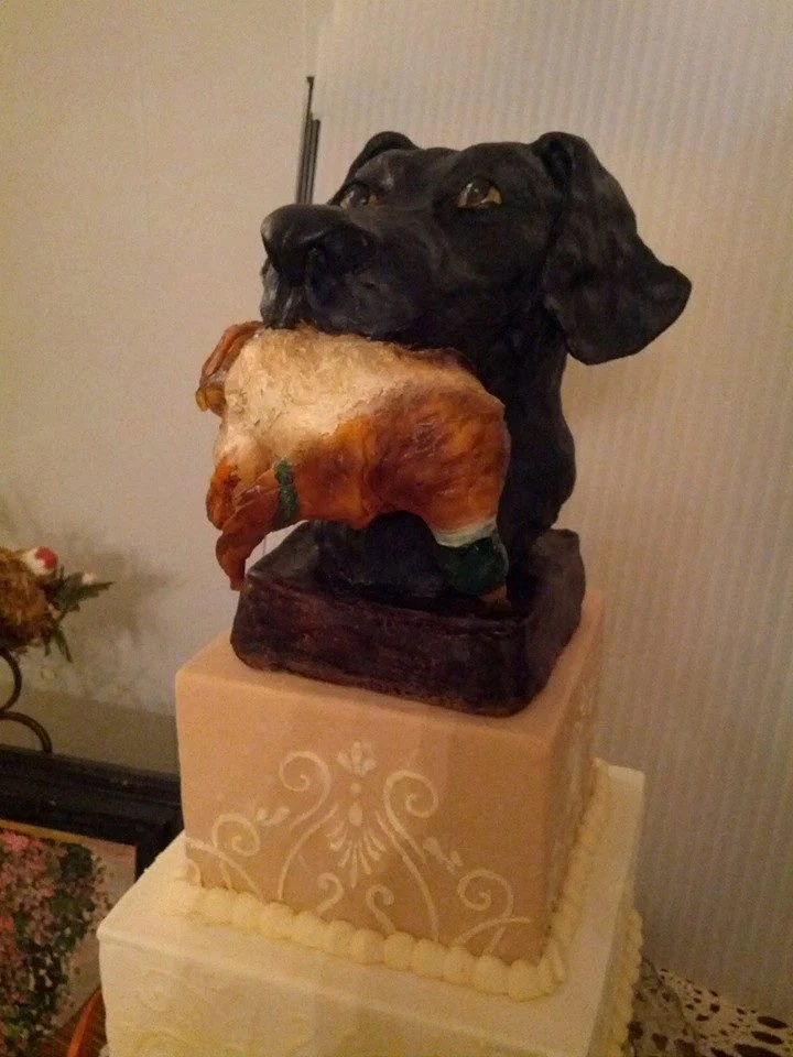 Labrador With Duck Cake Topper Handcarved From Chocolate