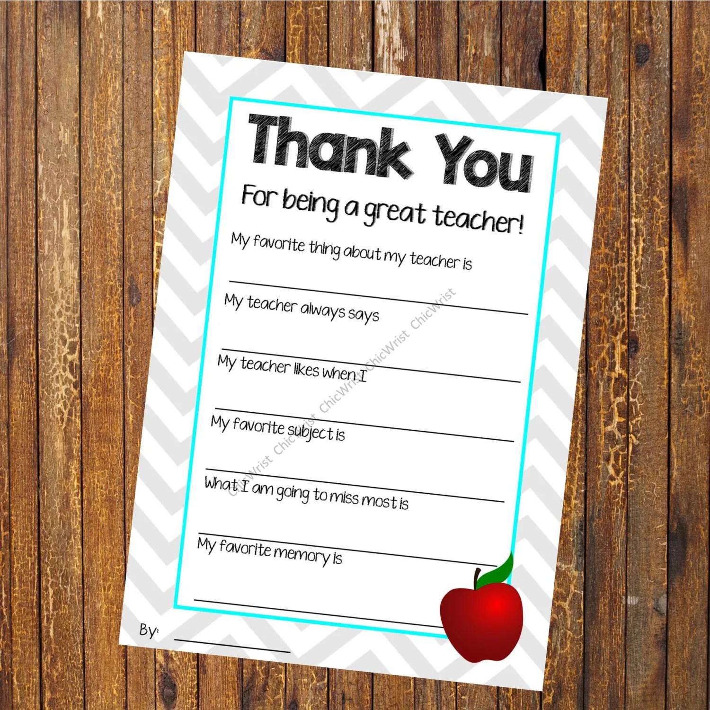 Teacher Appreciation Printable Teacher Thank You Thank