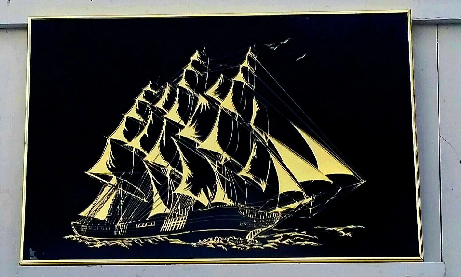 Mid Century Gold Ship Sailing On A Sea Of Black 36 Large