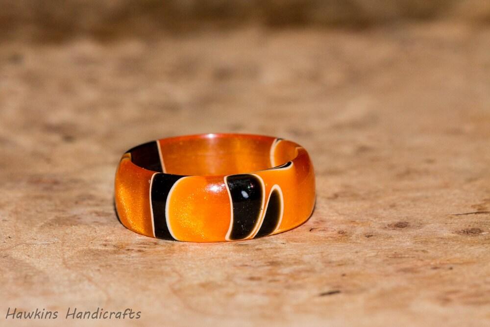 Orange And Black Acrylic Ring Resin Ring By HawkinsHandicrafts