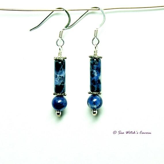 Sodalite Earrings Blue Stone Earrings Dangly Sodalite