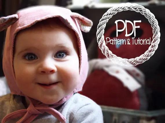 Baby Bonnet Sewing Pattern, DIY, Classic Bonnet Pattern, Easy Sewing Pattern, Ear Bonnet, Hippo Ears, Bonnets