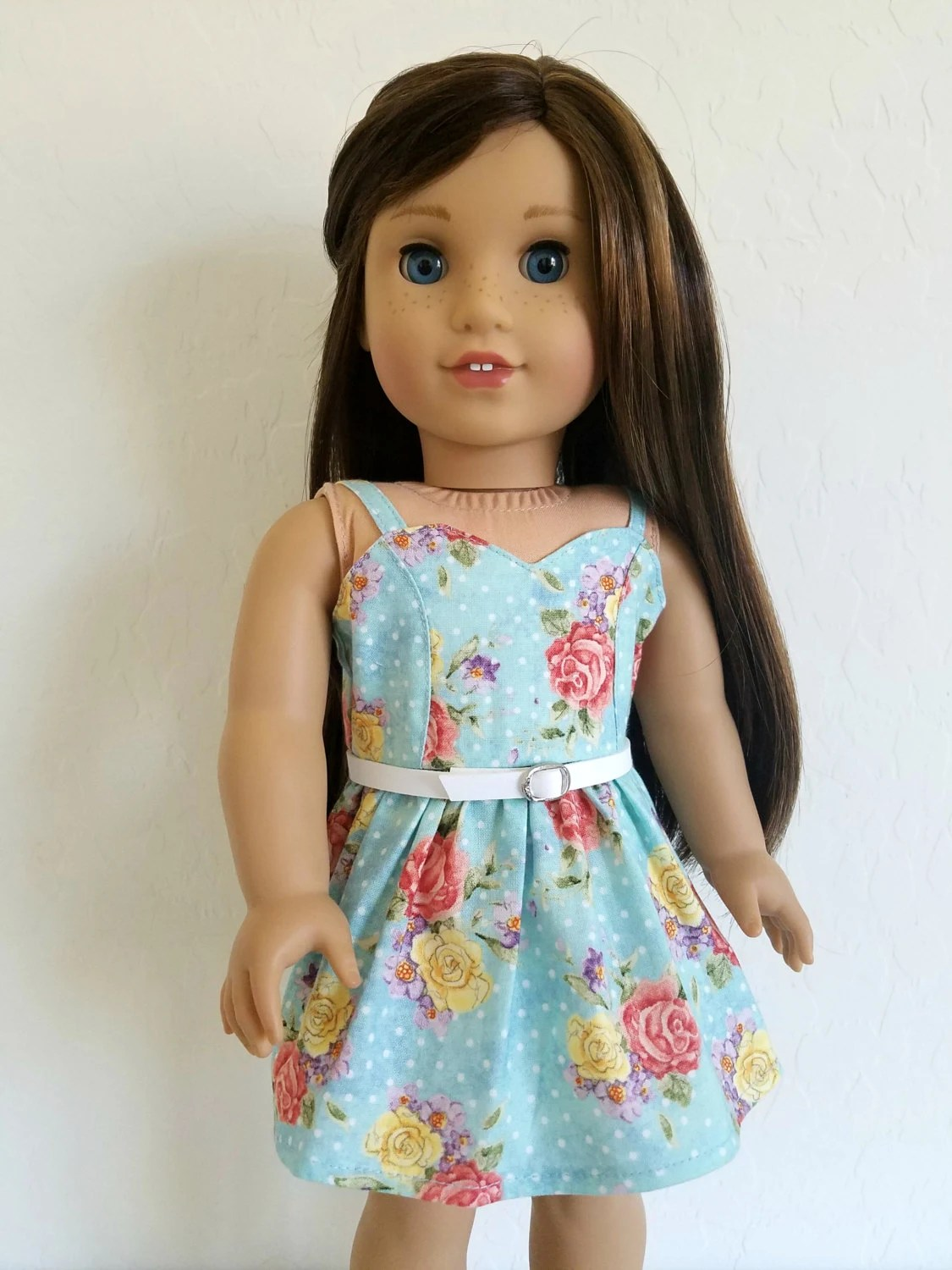 American Girl Doll Clothes Vintage Rose Print Dress