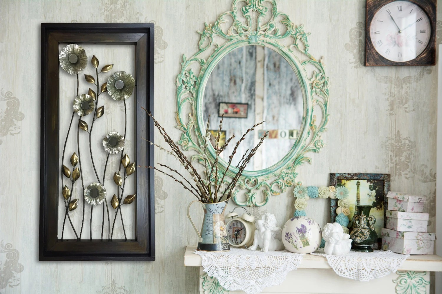 METAL Wall ART Wood Framed FLOWERS Mirrors Home Decor Large