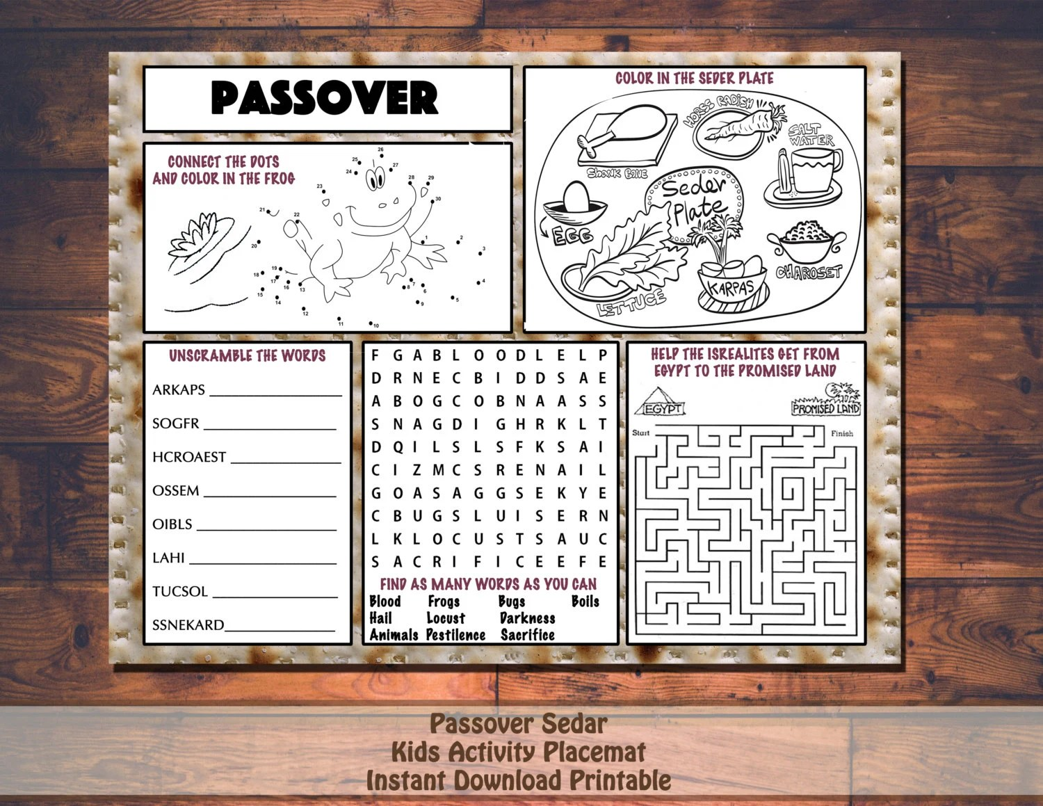 Kids Passover Pesach Activity Printable Placemat Instant