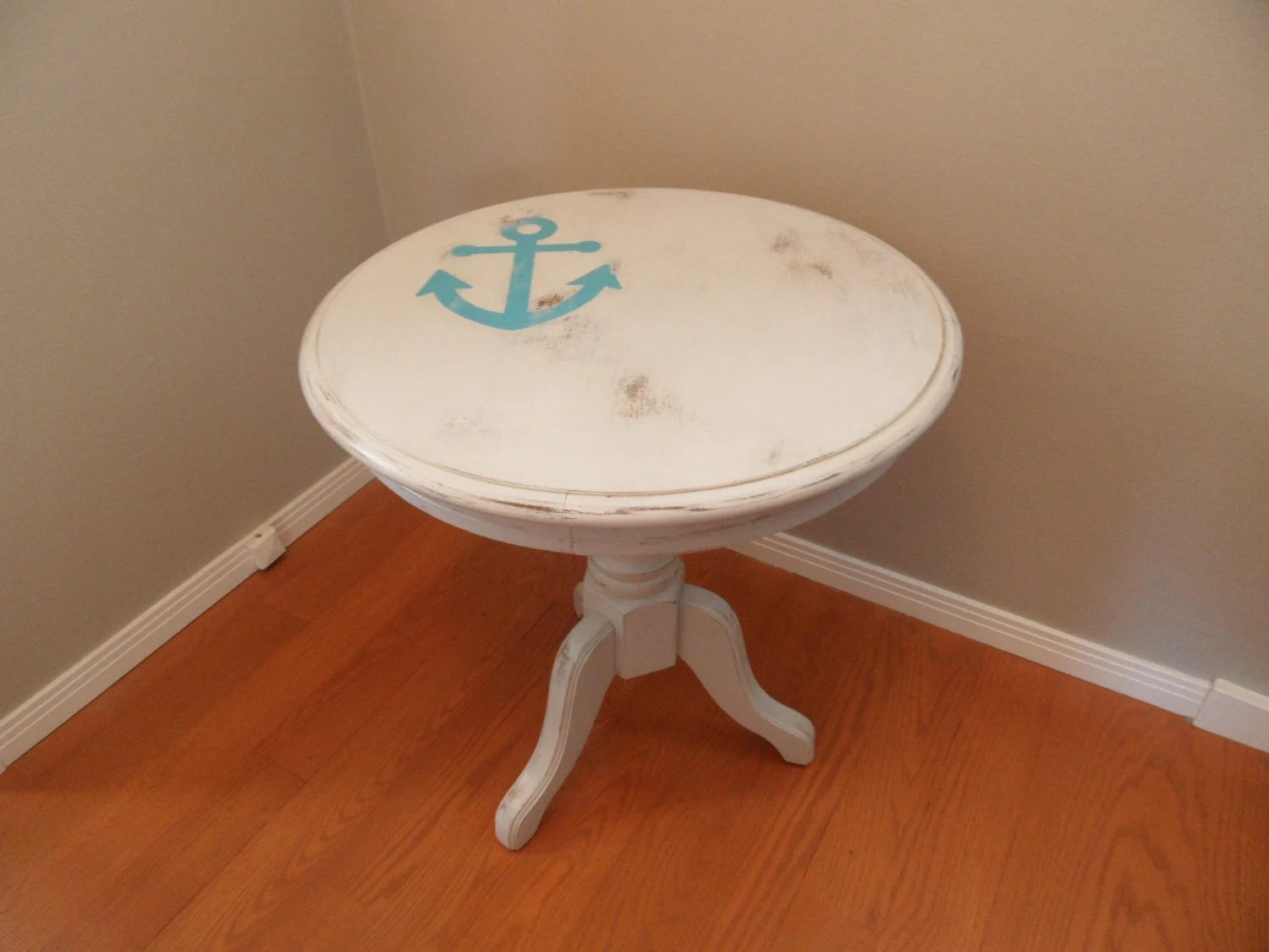 Off White Round Wood End Table Refurbished By RoxysHouse