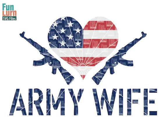 Download Army Wife SVGLove Army love my Soldier heart US Flag