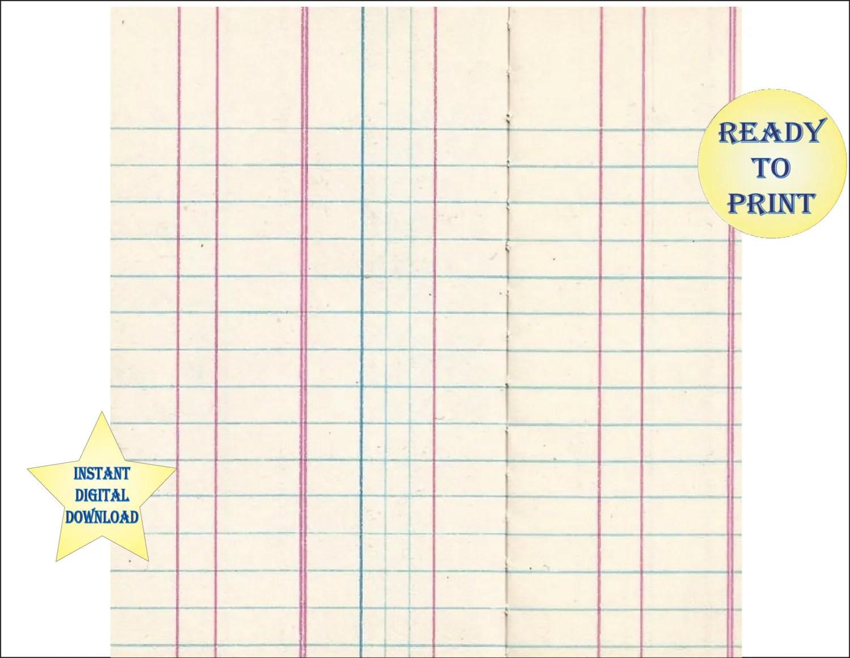 Blank Ledger Sheet Scrapbook Sheet Printable 12x12 Digital File Lined Vintage Bank Money Record
