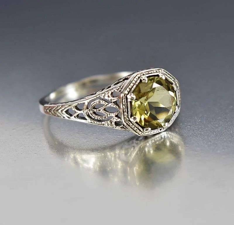 Lemon Citrine Ring Engagement Ring Sterling Silver Filigree