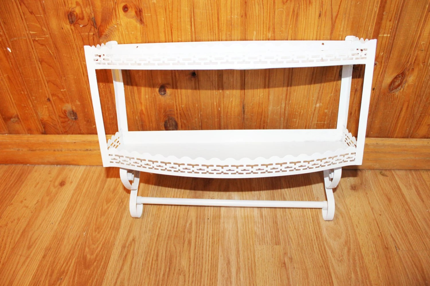 Vintage White Metal Double Wall Shelf With Scroll Cutout Design And Towel Hanging Rack Bedroom