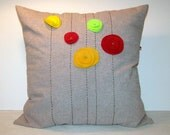 Zippered pillow cover, pillow cushion cover, pillow case, poppies, hand embroidered, felt poppy flowers, cotton and linen