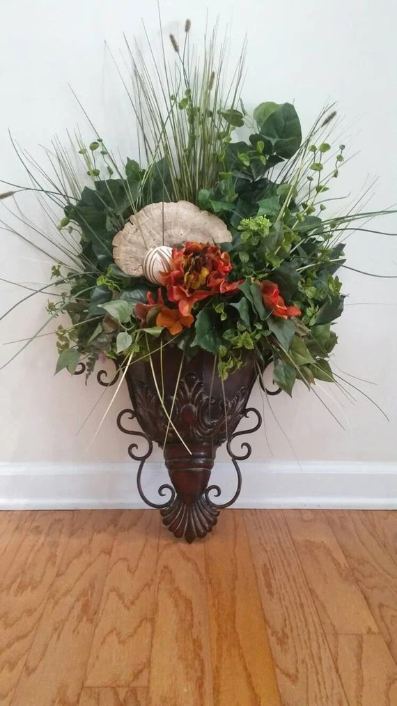Items similar to Traditional Italian Old World Decor Wall ... on Wall Sconce Floral Arrangements Arrangement id=14236