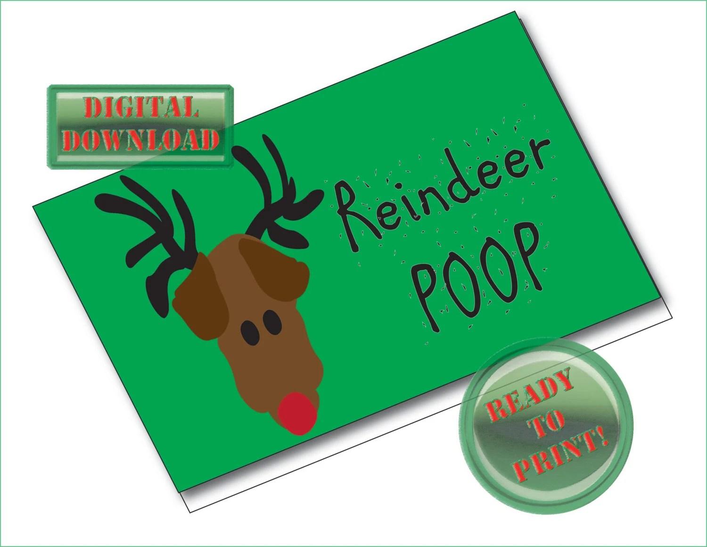 Reindeer Poop Printable Treat Bag Foldover Card Tags Christmas