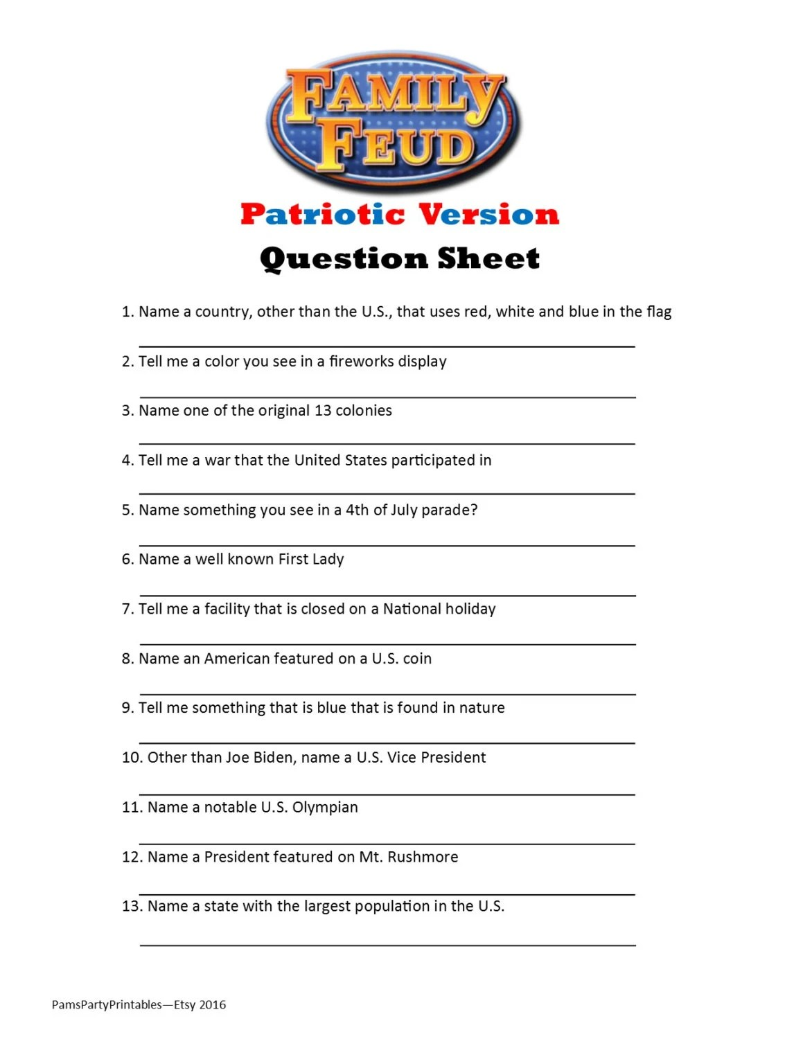 Patriotic Family Feud Printable Party Game By