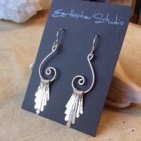 Silver Dangle Earrings, Spiral, Hammered, Argentium Sterling
