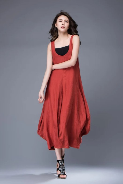 Red Linen Dress Free-Style Casual Loose-Fitting Tulip-Shaped