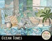 Beach Digital Scrapbooking Kit - Ocean Tones clipart - Swimming Beach & Summer Digital Scrapbook