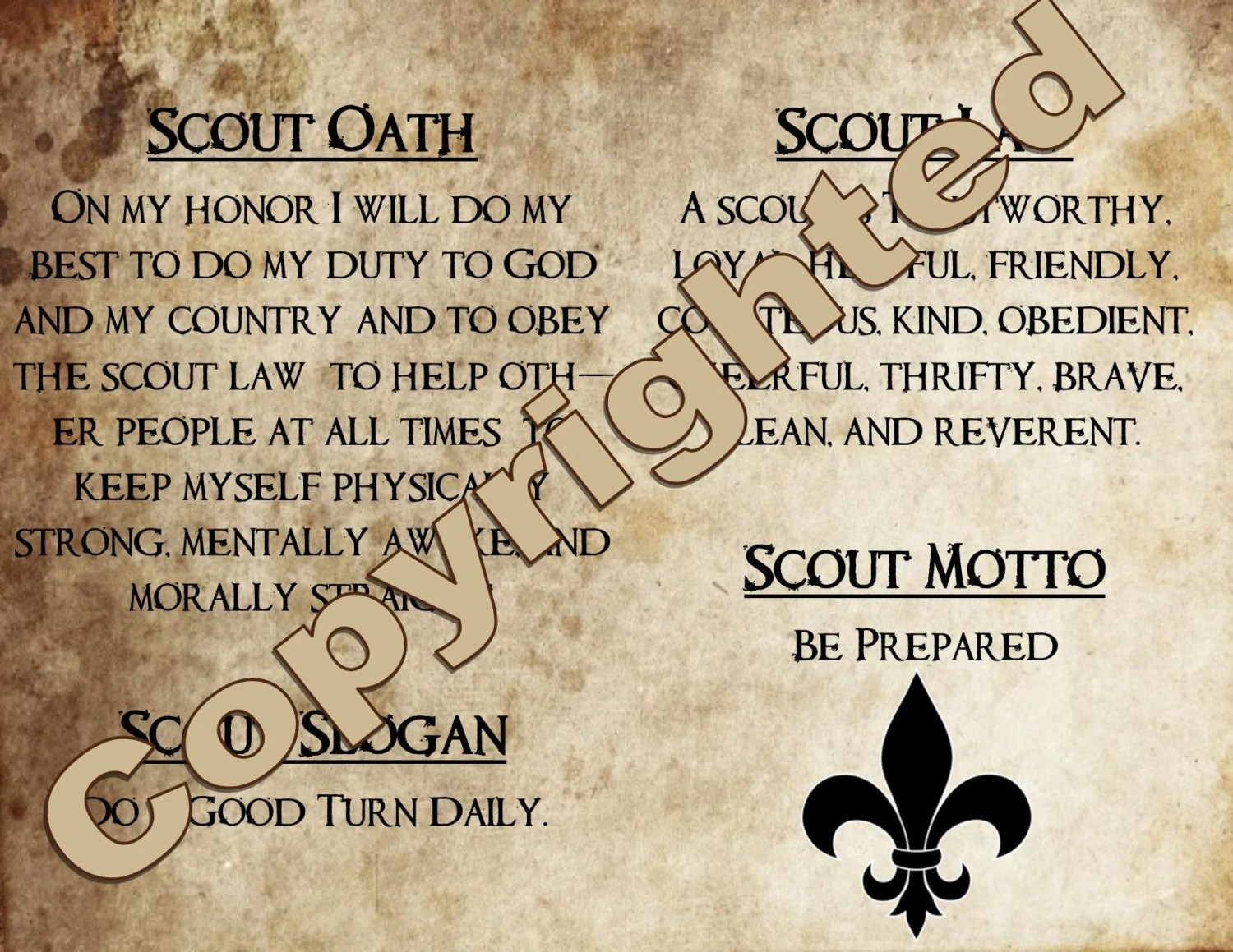 Scout Oath Slogan Law And Motto Wall Art Poster Size Or