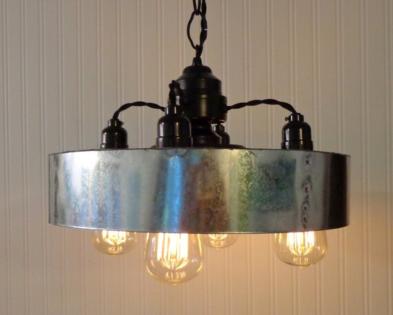 Modern INDUSTRIAL Hanging Chandelier With Chicken By LampGoods