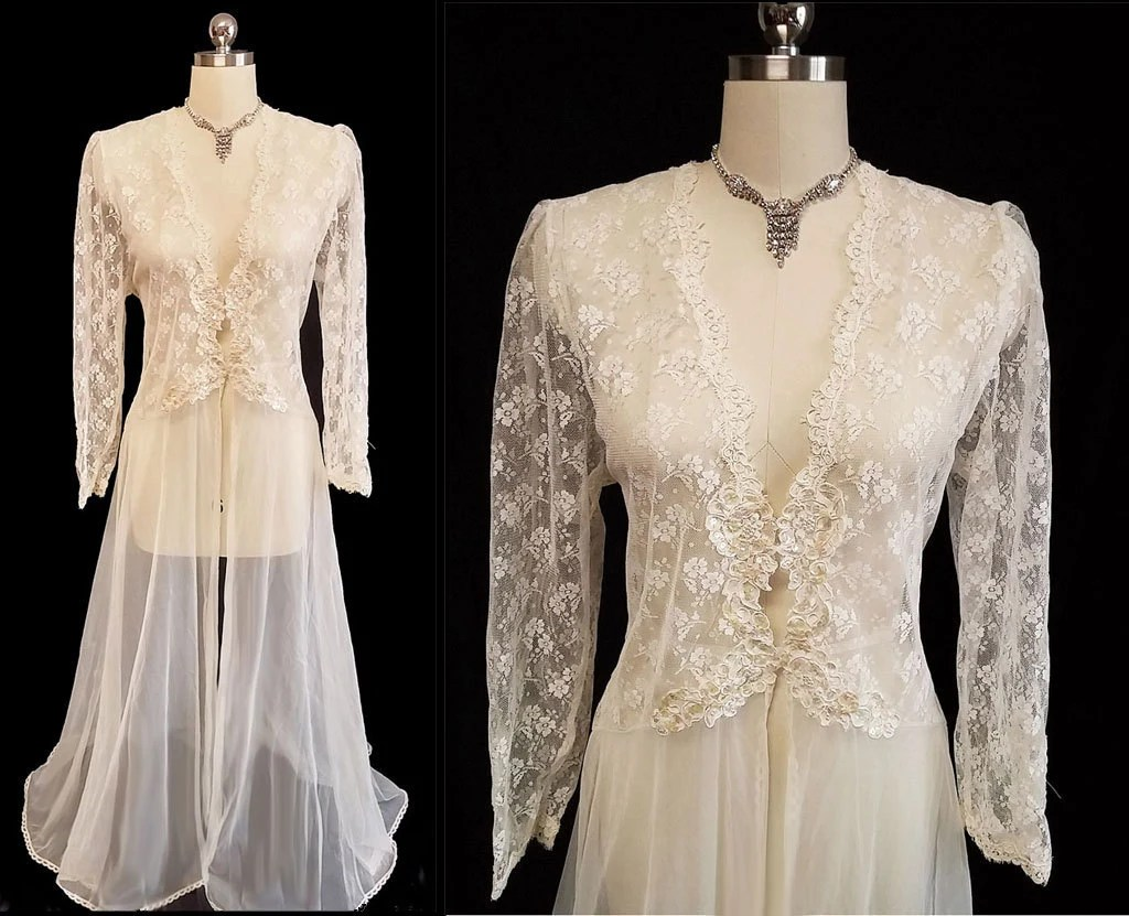 Vintage Victoria's Secret Bridal Chantilly Lace Sheer