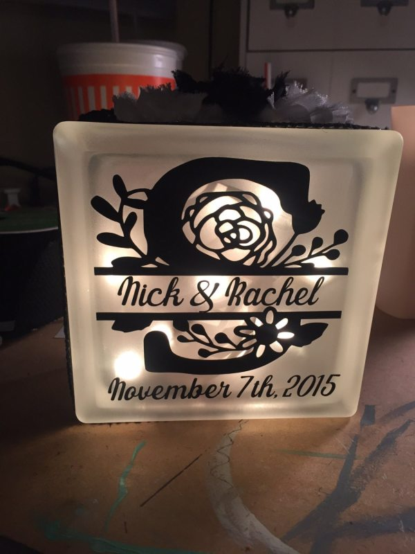 Frosted Glass Block with Light-Personalized Light up glass