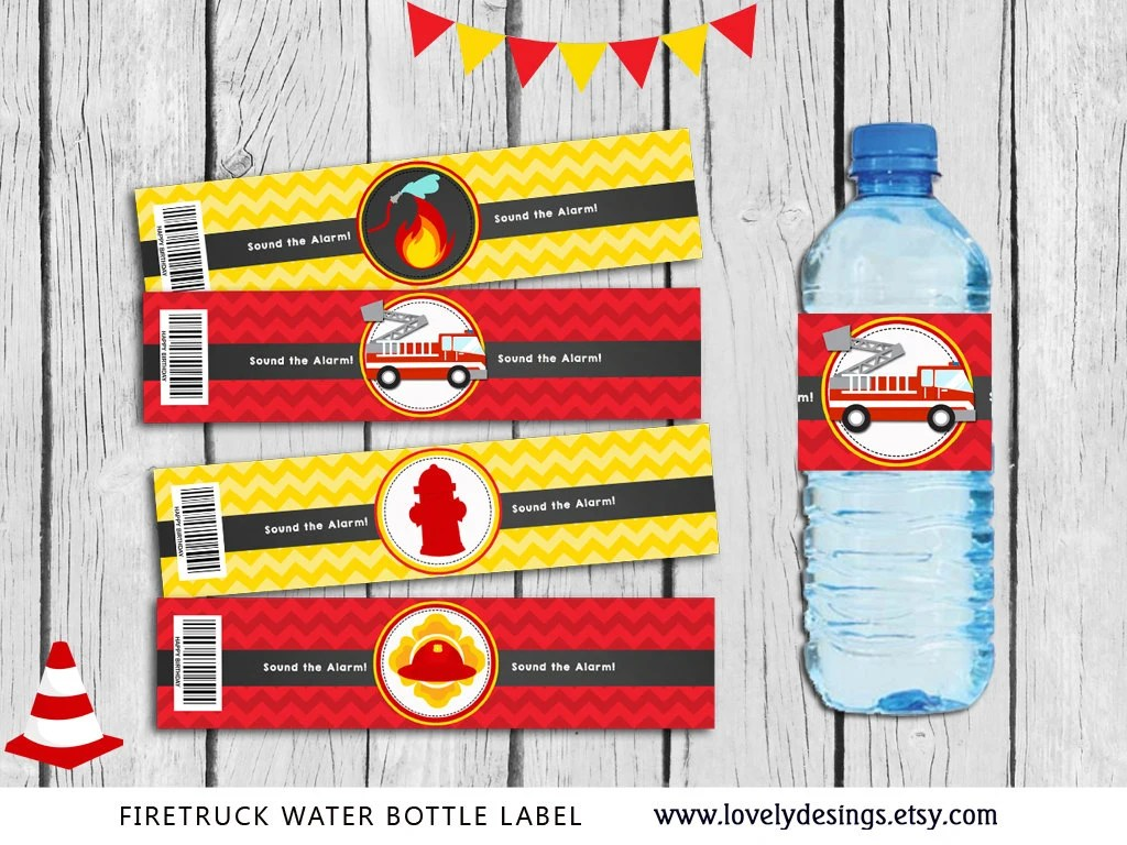 Fire Truck Water Bottle Label Firefighter Party Supplies