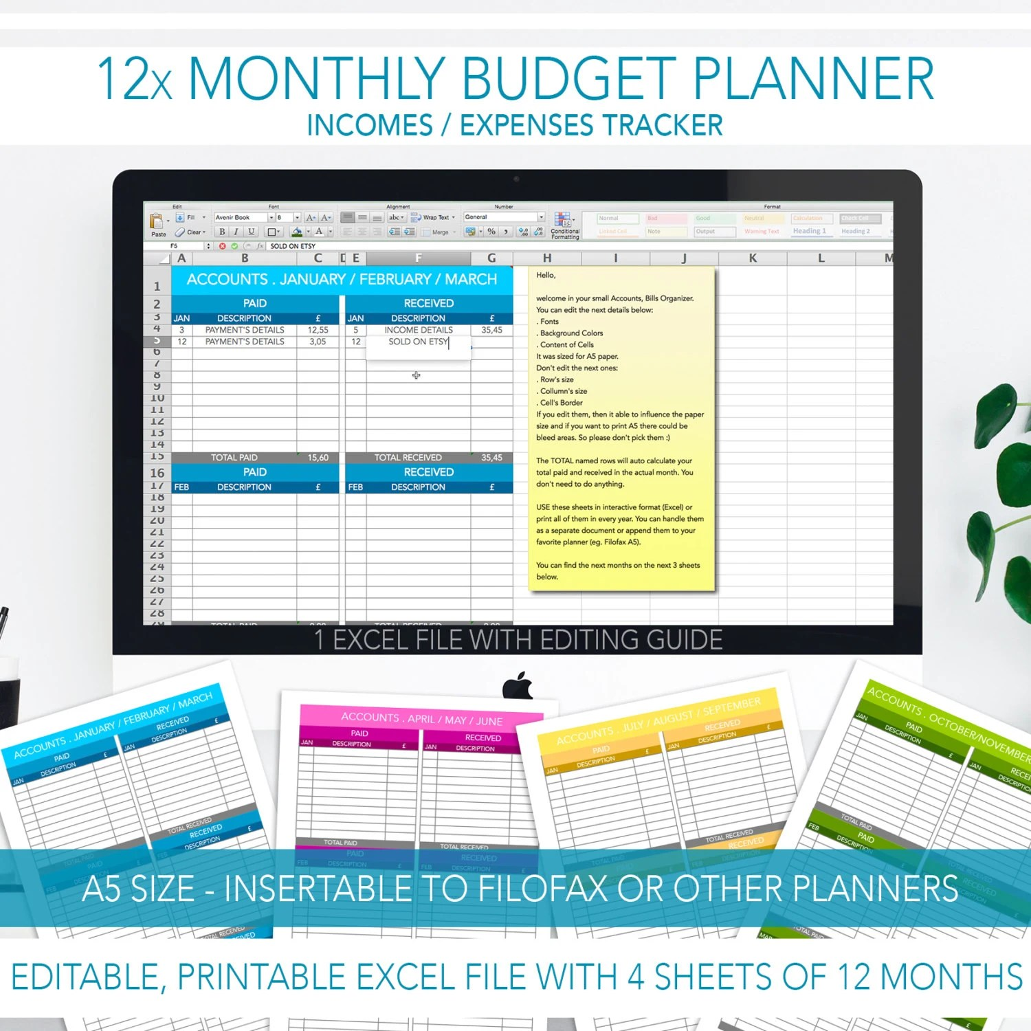 Monthly Bill Tracker Editable Budget Planner A5 Size 12