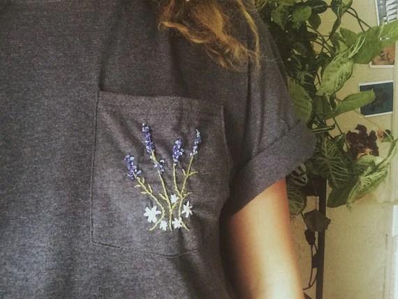 Embroidered Lavender Bouquet Pocket T Shirt