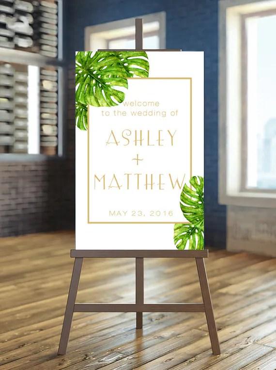 Printable Wedding Sign Welcome Wedding Sign Tropical Wedding