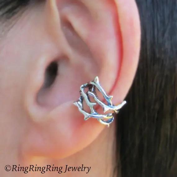 Thorn Ear Cuff Sterling Silver Earrings Jewelry Woven Crown Of
