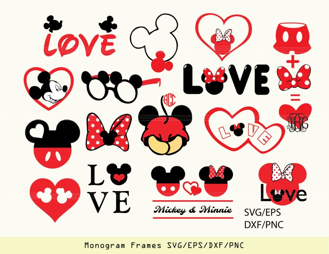 Download INSTANT DOWNLOAD SVG Mickey and Minnie love heart vectors for