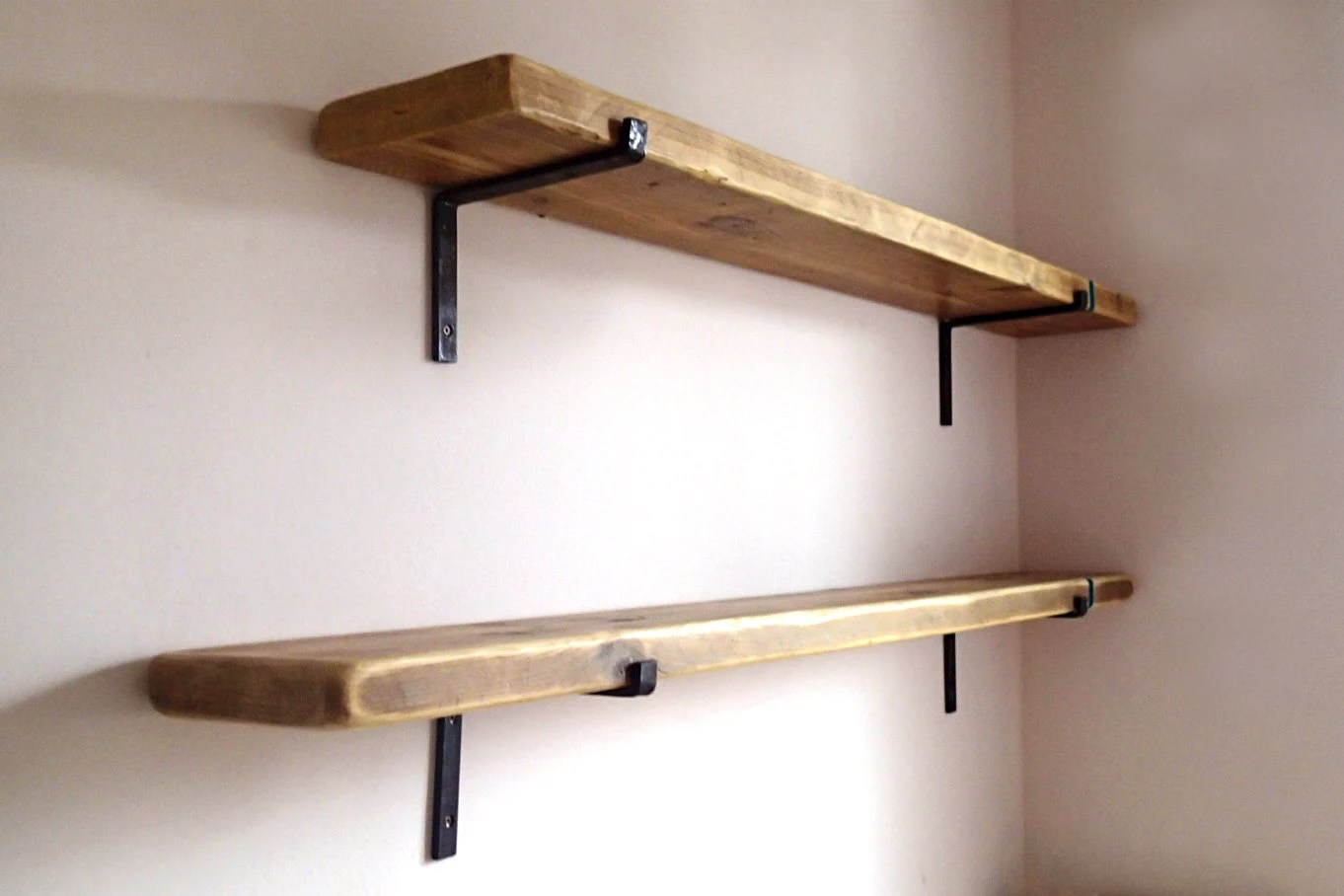 9 Deep Reclaimed Wood Shelves With 2 Iron Brackets