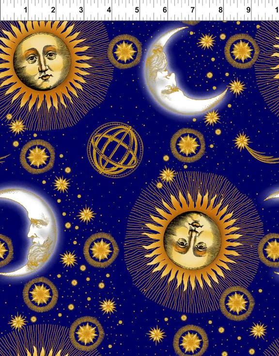 Celestial Blue Sun Moon Stars Jason Yenter Fabric 1 yard LAST