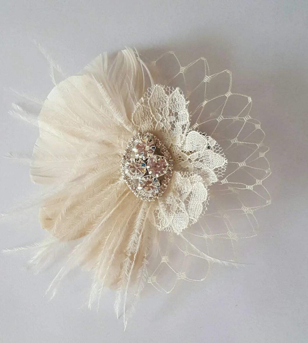 Small Bridal Fascinator Mini Feather Hair Clip Wedding Hair