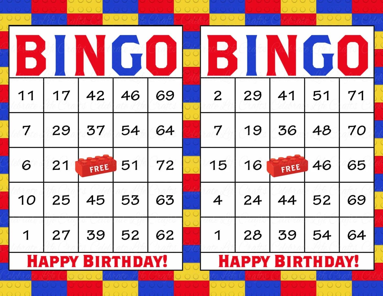 60 Building Blocks Birthday Printable Bingo Cards Instant