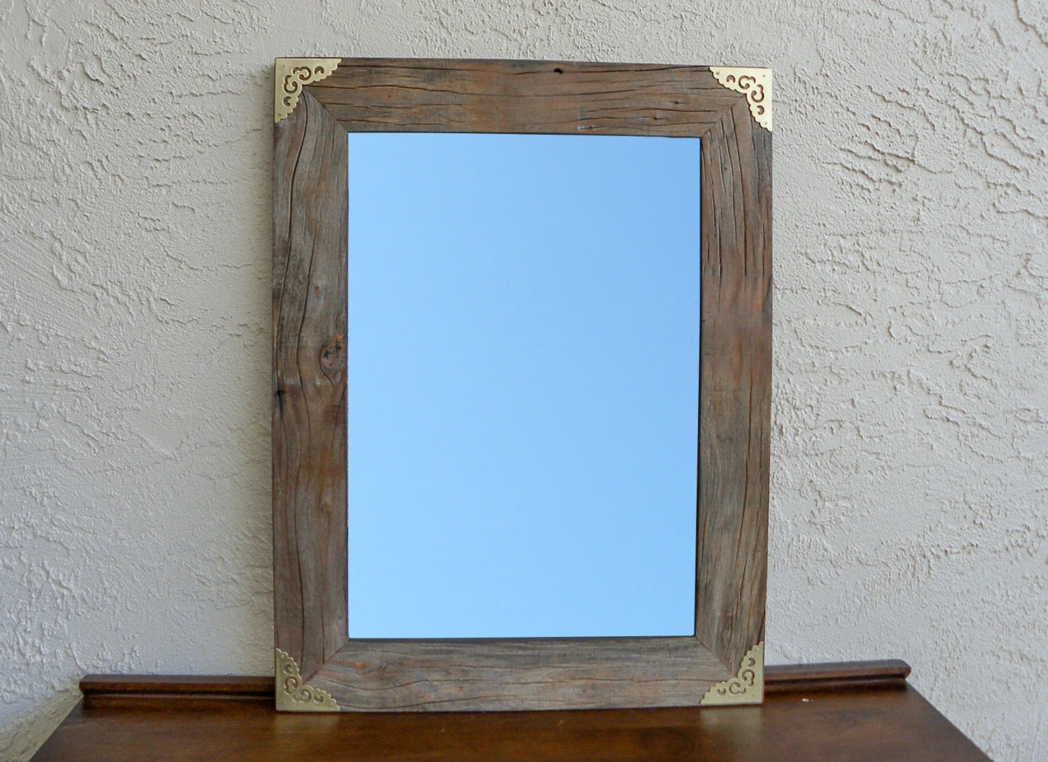 Reclaimed Wood Mirror With Gold Metal Corners. Rustic Decor