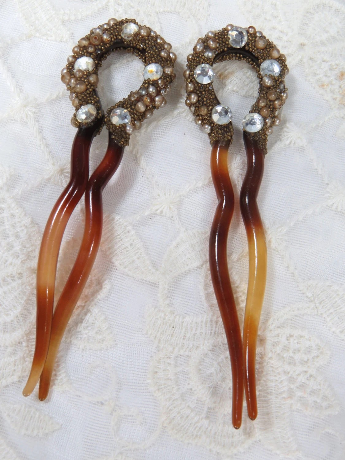 TWO Antique Tortoise Shell Hair Pins With Rhinestones Pearls