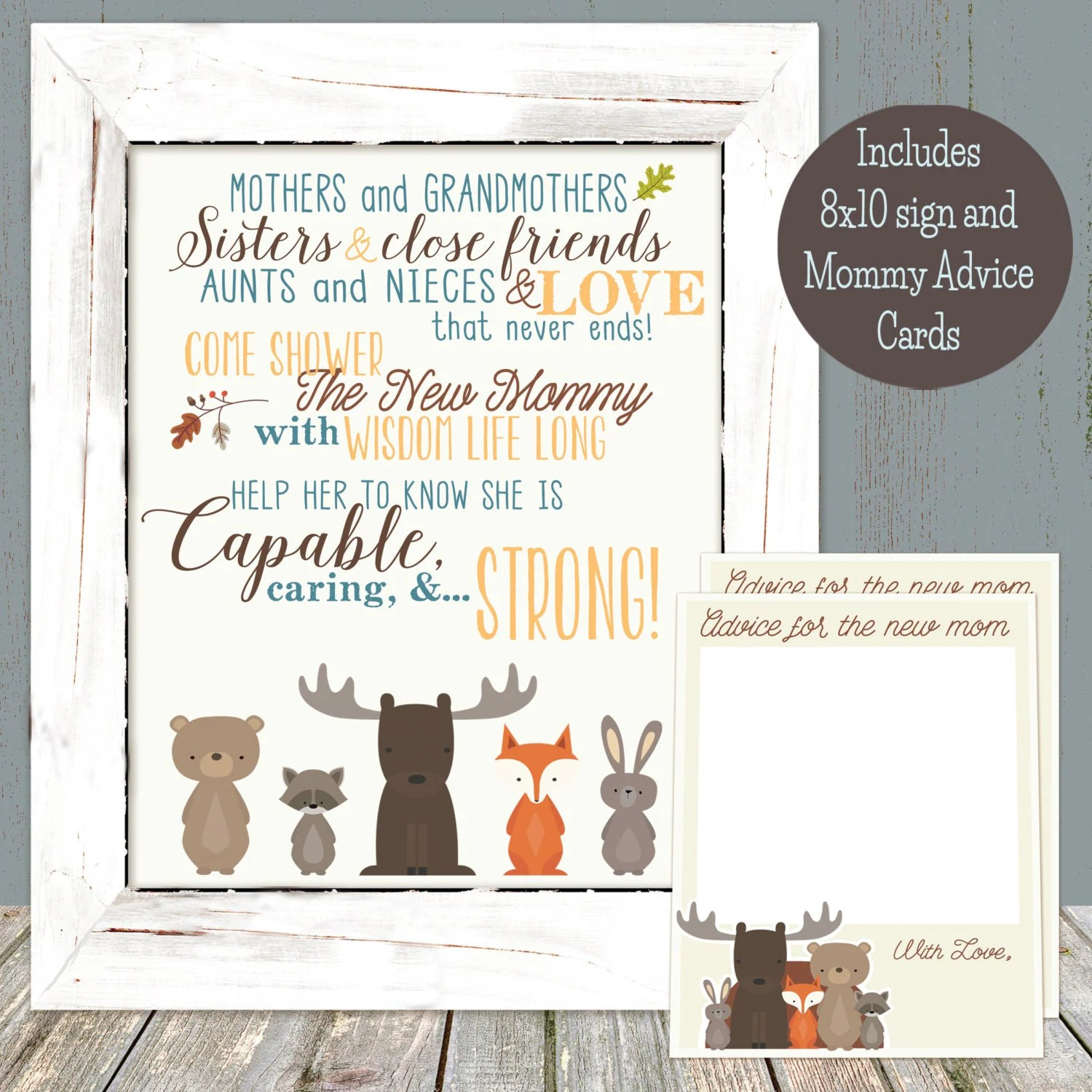 Woodland Animal Baby Shower Mommy Advice Sign And Cards Combo