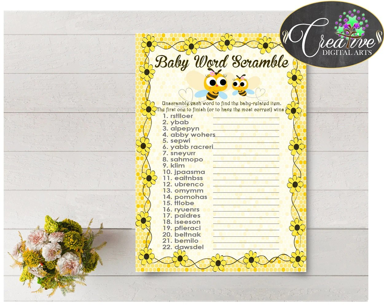 Word Scramble Baby Shower Game Printable With Yellow Bee