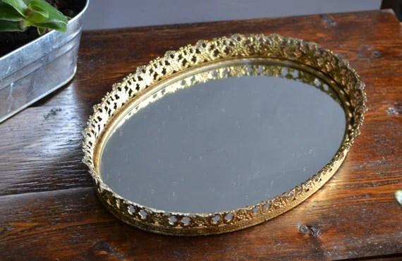 Oval Vanity Mirror Tray / Gold Tone / Vintage Floral